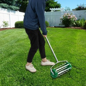 Rolling Lawn Aerator Heavy Duty Garden Yard Tool Push Manual Machine Roller Hand
