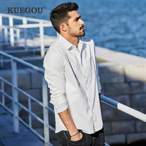 KUEGOU 2020 Primavera Cotton bolso Plain White shirt Homens Dress Casual Slim Fit manga comprida para homem Vestuário Casual Marca 6838