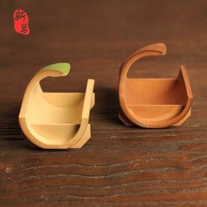 Japanese and Japanese Food Tray Boat-Type Bamboo Tea Tray Handmade Natural High-End Pastoral Fruit Basket Container Small Bamboo Blue Export