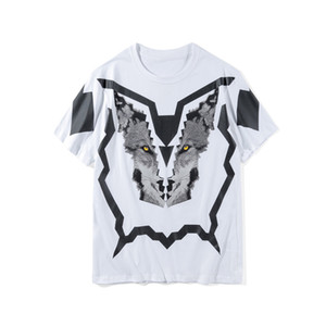 Hombres estilista de la moda camiseta de verano de alta calidad de los hombres de las mujeres 3D de manga corta impresa para hombre del estilista camisetas Lobo de impresión Tamaño M-2XL