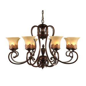 Island Country stile dell'annata Lampadari montaggio a filo soffitto lampade a sospensione E27 Pittura di illuminazione della lampada del dispositivo di vetro paralume
