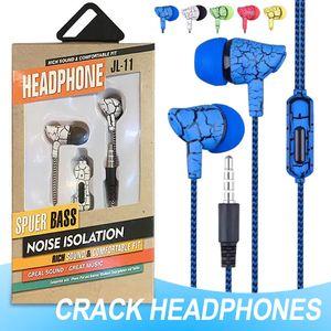 سماعات 3.5mm سماعات ستيريو باس الكراك الصوت الشكل في سماعات الأذن السلكية مع مايكروفون التحكم بحجم الصوت من Andriod مع صندوق البيع بالتجزئة
