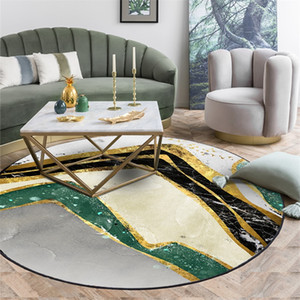 Moda moderna Abstract Green Golden Mountain Stampa da letto Soggiorno Parlour rotonda antiscivolo Mat Area Rug Carpet decorativo