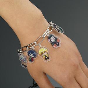 Японский аниме Demon Slayer Kimetsu нет Yaiba Браслеты Мужчины Kamado Tanjirou металла браслет для вентиляторов Косплей мультипликационный персонаж мило