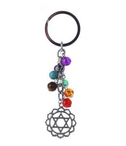 Yoga Reiki 7 Chakra Keychains Pedra Natural Chaveiro Antiga Prata Árvore de Vida Âncora Chaveiro Chaveiro Saco Pendure Jóias
