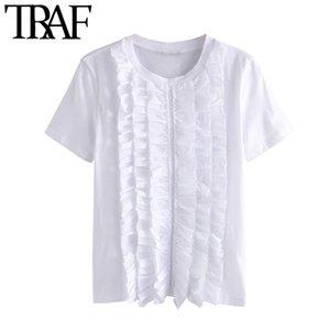KPYTOMOA Kadınlar 2020 Moda Ruffled Beyaz Bluzlar Vintage O Yaka Kısa Kollu Kadın Gömlek blusas Şık Tops