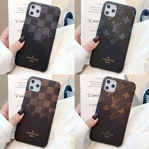 Moda cuadrícula de lujo del cuero del teléfono para el iPhone X XS Max XR iPhone Pro Max 11 Cubierta 8 7 6 6S Plus tarjeta de crédito Con Soft caso para