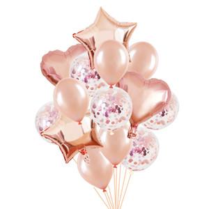 Rose Gold Balloon Set Star Heart Foil Balloon Rose Gold Birthday Party Decoration Baby Shower Wedding Helium Ballons Decor Globo