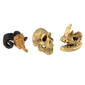 Set von 3, Reptile Vivarium Dekoration Menschen Rhino Ziege Schädel ausblenden Cave Nest Aquarium Unterwasser-Ornament