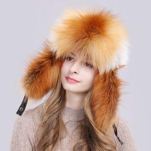 2019 Unisex Cappello invernale in vera pelliccia di volpe russa Calda qualità morbida Cappelli in vera pelliccia di procione Cappelli di lusso in vera pelle di montone Cappelli