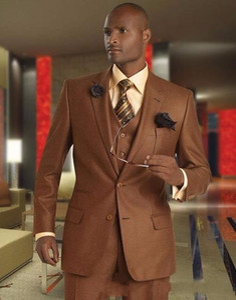 Marca New Brown Noivo Smoking Notch lapela dos homens casamento smoking Excelente Homem Jacket Blazer Moda 3 Piece Suit (Jacket + Calças + Vest + Tie) 523