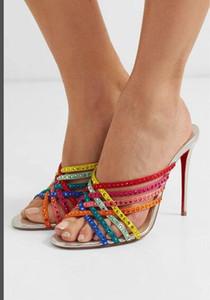 FemalesColor rhinestone caliente zapatillas sandalias de tacón de aguja de la nueva moda cómoda de las mujeres de color sandalias zapatos de la boda del partido de cuero genuino