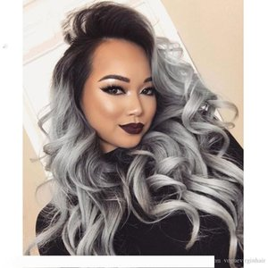 Горячего бразильского Ombre серого полный волос кружева человеческого париков волнистых серебристо-серый бесклеевой фронт шнурок париков 130% плотность с отбеленными узлами серого Wi