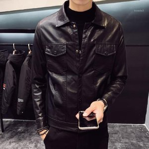 Autumn PU Leather Jacket Zipper Mens Mens Coats New Casual Fashiong Long Sleeved Solid Color Mens Outerwear Spring