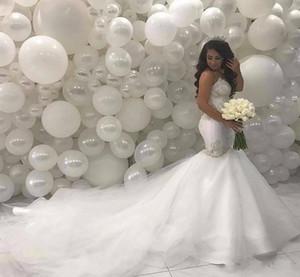 Árabe Middle East Sereia vestidos de casamento 2020 Beading Lace Tribunal Trem do Marfim vestidos de noiva vintage