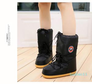 SWONCO zapatos caliente botas de nieve Invierno de la mujer Plataforma Luna Botas Espacio Mujer 2019 Cálido invierno de terciopelo de piel botas del tobillo snowboots l11