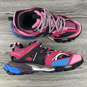 La venta caliente 3.0 Tess Hombres Mujeres Triple S Comfort zapatos casuales Clunky la zapatilla de deporte azul rosa blanco de la manera de lujo de diseño de calzado Chaussures papá