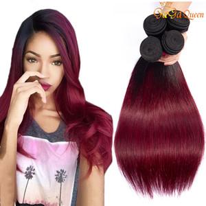 Etero Ombre capelli 1B 99J Borgogna 3 fasci di capelli tessuto brasiliano Bundles Two Tone Capelli