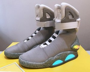 Authentique Air Mag Back To The Future Glow In The Dark Grey sneakers Marty McFly « S Led Chaussures Eclairage Marty Mcflys Mags Noir Bottes
