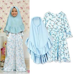 Baby Mädchen langärmlig Schüttelfrost Muslim Kleid + Kopftuch, zwei Stücke von Kinderbekleidung