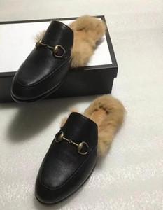 Мужские роскошного дизайн тапочек бренд меховых Princetown тапочки женщины реального кожаные плоские тапочки кролик волосы ботинки