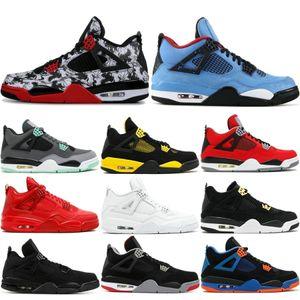 Nike Air Jordan Retro Mens 4 4s Scarpe da basket Cactus Jack White Cemento Gioco Royal Motor Miglior qualità Mens Sport Sneakers Designer Shoes US 7-13