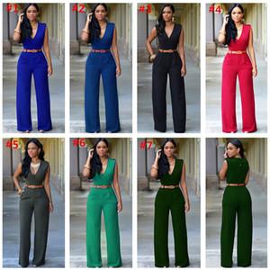 Moda Mulheres Jumpsuit cintura alta calças largas de pé contínuo macacãozinho cor sem mangas e com Belt Designer Verão Uma peça Bodysuit Clube Outfits