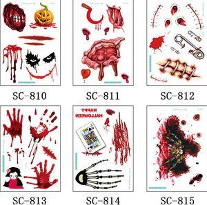 임시 문신 환경 방수 할로윈 테러 문신 붙여 넣기 분위기 파티 테러의 상처 상처 드레싱 문신 페이스트 소품