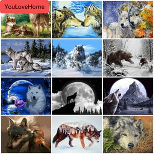 Huacan Oil Painting By Numbers animal Lobo pintado à mão DIY retrato da arte Kits tela de desenho Presente Decoração de interiores