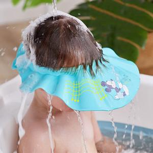 Baby Shower Cap con le orecchie di protezione EVA regolabile Arrotolabile bambini Shampoo Haircut Bagno protezione esterna della visiera del cappello per i bambini morbida eco-friendly