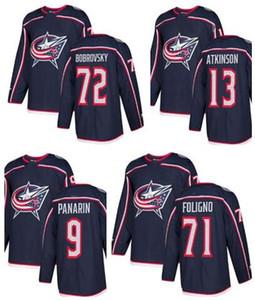 Giacche Columbus Blue da uomo 71 Foligno 72 Bobrovsky 13 Atkinson 9 Panarin Hockey Jersey, 2019 uomini negozio online per la vendita pullover abbigliamento fan