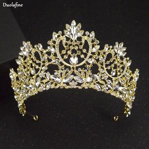 Oro Y Duolafine de lujo en color plata Rhinestone boda tiara de la corona de moda hechos a mano de la novia del pelo del Rhinestone Accesorios Coronas