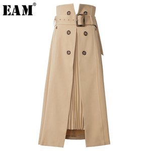 [EAM] High Waist Brown Bandage Asymmetrical Pleated Temperament Half-body Skirt Women Fashion Tide New Spring Autumn 2020 1S464 CX200704