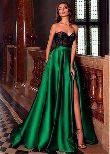 Dark Green Lange Split Abendkleider 2020 Black Lace Top-Schatz-Fußboden-Längen-formale Partei-Abschlussball Kleider vestido festa longo