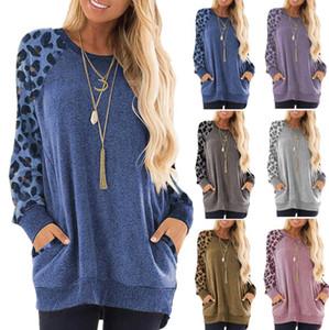 Manga con capucha del bolsillo de la camiseta de las mujeres del leopardo del remiendo cómodo cuello redondo de manga larga Tops sólidos de las muchachas LJJO7677