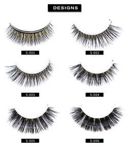 2019 Self adhesive MINK eyelashes 6 styles 1pair 3D Full Strip False Eyelash Long Individual Mink Lashes Extension with fine round box