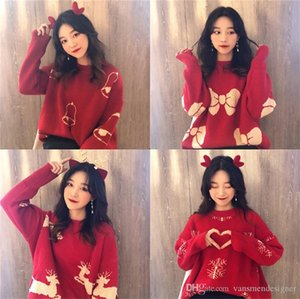 Winter Womens Sweater Christmas Printed Loose Thick Sweaters Designer Pullover Womens Knitted Tops