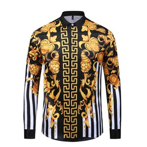 HOT 2019 Herbst Winter Harajuku Medusa Goldkette Dog Rose Print Shirts Mode Retro Blumen Pullover Männer Langarm Tops Shirts