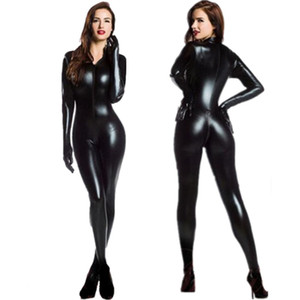 M-XXL Mujeres 2way Zipper Faux Leather Catsuit Clubwear DS Latex Cat Mujeres con guantes Fancy Sexy Costume Jumpsuit Plus Size