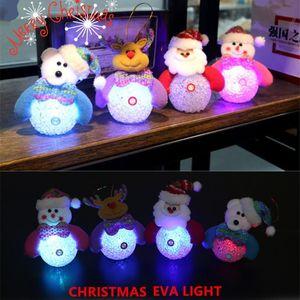 DIY Рождество Xmas Party Tree Toppers Светящиеся снеговика Санта-Клаус Олени Висячие Декор Ночные огни Сияющие Xmas Tree подвеска