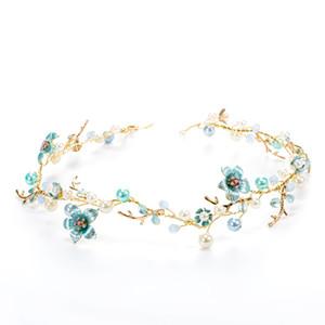 Dower Me Kadınlar Mavi Çiçek Kafa Düğün Saç Vine Pearl Gelin Saç Takı Aksesuarları El Yapımı C19041101