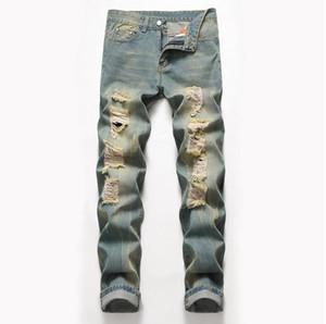 Tamanho grande Mens Clássico Perna Reta Jeans Rasgado Moda Designer Slim Fit Lavou Sólida Buraco Motociclista Hip Hop Retro Azul Denim Calças JB2