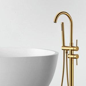 Tub Filler andar montado Banheira Torneiras com chuveiro de mão Standing Bath torneira Single Handle Mixer Tap