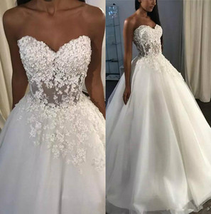 Sexy Sweetheart A Line Wedding Dresses Corset Back Sweep Train 3D Lace Seaside Wedding Bridal Gowns Beach robes de mariée