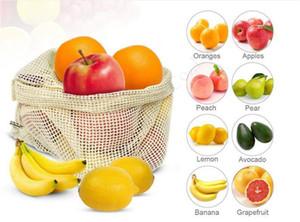 3pcs fruits Sacs légumes Totes réutilisables en coton Mesh Supermarché commercial Sacs de rangement écologique Sac Cuisine Buggy JE1303 Drawstring