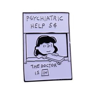 Bonito Amendoim fãs broche Lucy oferecendo ajuda psiquiátrica pino mental saúde jóias humor conversa acionador de partida