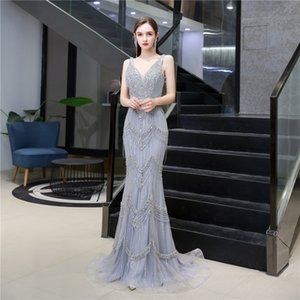 Sexy Beads Prom Gown See Through Tops High Neck Mermaid Evening Dress robe de soiree Custom Made