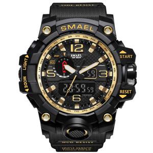 SMAEL 1545 hombres de la marca Deportes Relojes de pantalla dual analógico digital LED electrónicos Los relojes del cuarzo del reloj impermeable militar Natación
