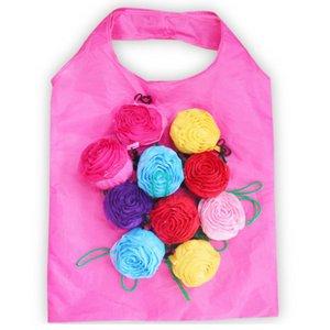 Rose sac à provisions pliable fleur 3D se pliant réutilisable ECO amical sac à bandoulière se pliant sacs de stockage HHA636