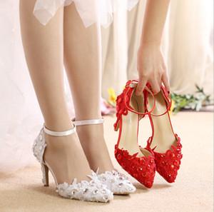 جميلة الأبيض الرباط الأحمر أحذية الزفاف الكعب العالي المرأة الزفاف أحذية أحذية الزفاف أحذية صندل الزفاف الأميرة مطرز كريستال المدببة